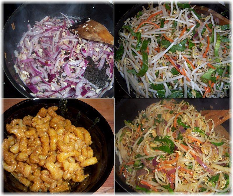 krewetki z kiełkami i ryżem