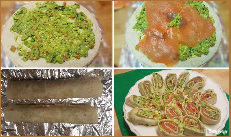 Przekąski z tortiili z łososiem i guacamole