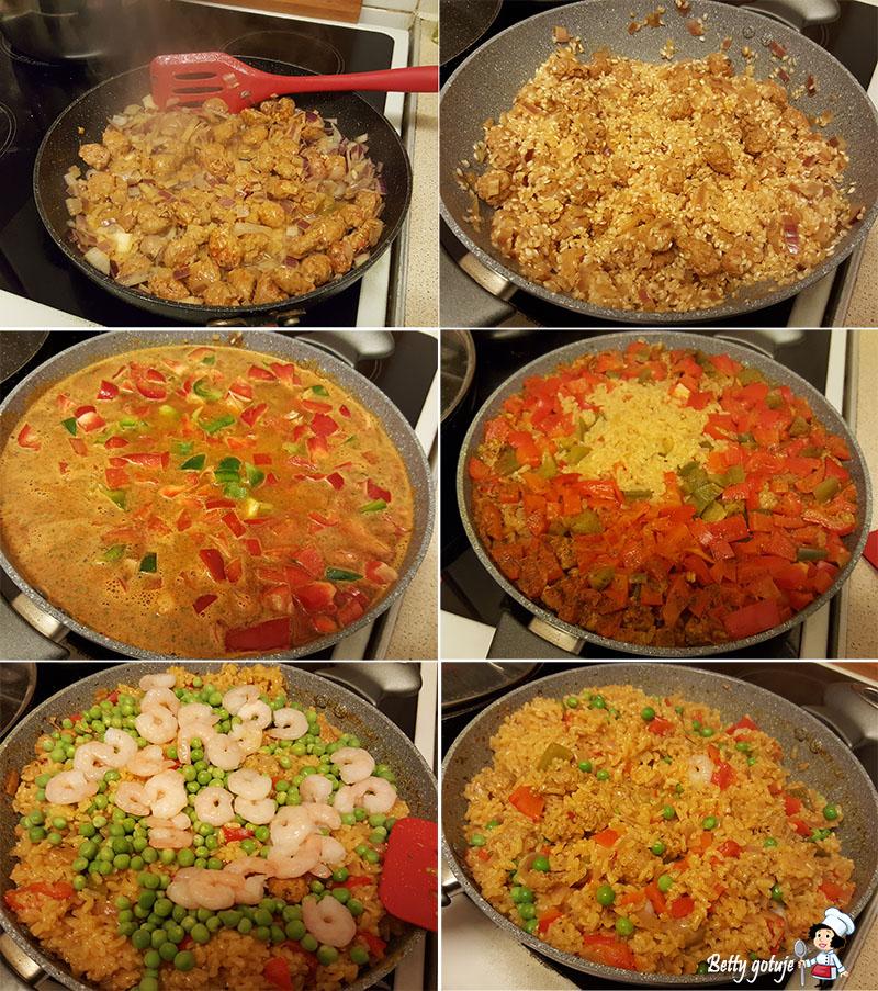 Paella z chorizo i krewetkami